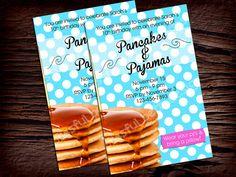 PANCAKE BIRTHDAY INVITATION Retro Pancake by BlissfulBethDesigns, $11.00