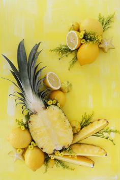 Fresh fruit art, yellow