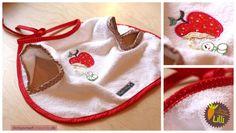 """Ärmel-Lätzchen für Babys und Kleinkinder """"Lilli"""". Hier mit süßer Apfel- und Raupen-Applikation. Nähanleitung und Schnittmuster von shesmile - Do it Yourself"""
