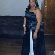 Dress/formal Black white formal gown with silver accents very pretty Dresses Prom