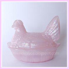 Chicken on Nest Fenton Pink Irridescent Hen on Basket | eBay