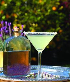 Spring Fling: The Lavender Lemon Drop Martini - thegoodstuff Lavender Martini, Lavender Cocktail, Lavender Syrup, Lemon Drop Martini, Easy Summer Cocktails, Tea Cocktails, Cocktail Desserts, Cocktail Recipes, Blueberry Cocktail