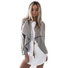 Cheap coat jacket, Buy Quality crop coat directly from China coat jacket outwear Suppliers: Women Crop Coat Jacket Outwear Grey Camel Solid Color Casual Coat Long Sleeve Turn-down Collar Loose Coat Autumn Winter Jackets