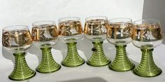 Boblingen Liqueur Glasses Set Of 6 Green Gold Barware Fluted Ribbed Stem Free Ship