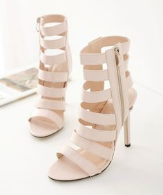 Sexy beige bandage open toe ankle zip stiletto heels for the trendy woman Stylish cage offers a unique trendy look Side zip for easy access Great for parties or social events Made from PU 11 cm heel height Strap Heels, Shoe Collection, Gladiator Sandals, Open Toe, Stiletto Heels, Fashion Shoes, Ankle, Beige, Zip