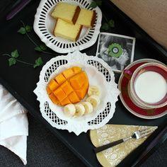오랜만에 #카스테라 #우유에 퐁당~~~ #애플망고 사악한 요맛! 좋은 #아침입니다. #망고#일상#홈스타#홈쿡#먹스타