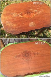 Antique table before and after sanded top