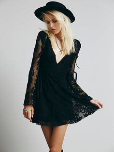 at Free People Reign Over Me Lace Dress in black