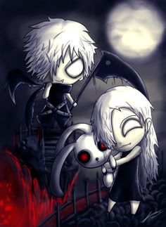 The grim siblings - emo/gothic - anime art - drawing - dark, darkness, death