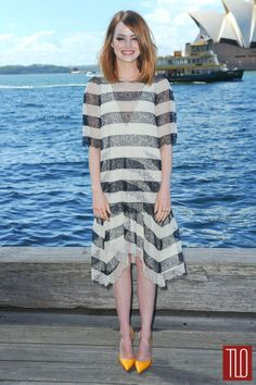 Move over Vicky B...my latest girl crush. Emma Stone. In Stripes. Chloe Stripes. And hello yellow shoes too. This chick rocks.