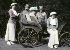 Tsar Nicholas II Alexandrovich Romanov (Nikolai II) (1868-1918) Russia (2nd from left) & wife Alix-Alexandra (Alexandra Feodorovna) (1872-1918) Hesse, Germany & family in capitivity. Many of these rare pictures of the imperial Romanov family were taken by head of the family, Russia's Last Tsar himself, Nicholas II. IMAGE: LASKI DIFFUSION/GETTY IMAGES