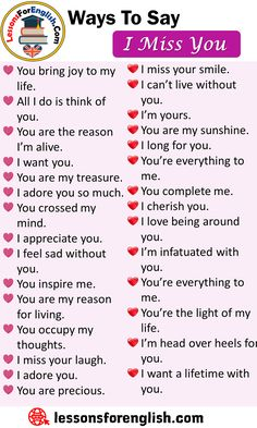Ways To Say I Miss You, English Phrases Examples - Lessons For English Good Vocabulary, English Vocabulary Words, Learn English Words, English Idioms, English Phrases, Essay Writing Skills, Book Writing Tips, English Writing Skills, Writing Words