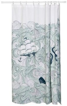 shower curtain with pirate ships, whales, tentacles, and a mermaid, awesome~!!!
