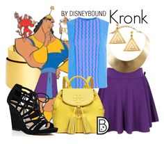 Kronk by leslieakay on Polyvore featuring polyvore, fashion, style, River Island, Tory Burch, BaubleBar, GUESS, Opening Ceremony, ChloBo, disney, disneybound and disneycharacter
