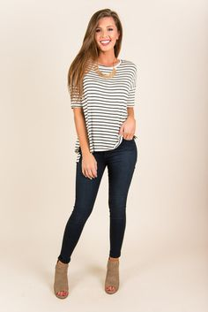 """""""Nautical Days Top, Black""""This casual top is a fabulous staple piece! It's very comfy with it's generous cut and jersey knit fabric! #newarrival #shopthemint"""