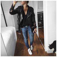 Leather / black / jeans / denim /lace / jacket / Audrey Lombart