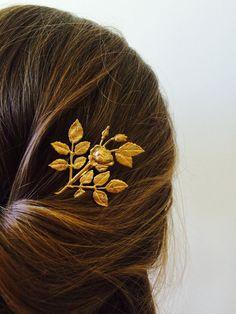 Or Rose broche fleur épingle à cheveux cheveux par TressTemptress