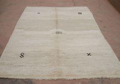 Natural Wool Rug 7x10, Berber Area Rug White Brown, African Tribal Rug, Low Pile Carpet, Natural Rug, Uncolored Sheeps Wool