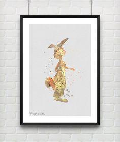 Rabbit Winnie the Pooh Disney Watercolor Poster Art Print, Baby Nursery Wall Art, Kids Decor, Not Framed, Gift, Buy 2 Get 1 Free! [No. 41]
