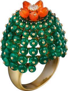 Bague Cactus de Cartier Or jaune, émeraudes, cornalines, diamants