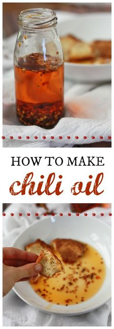How to Make Chili Oil // One Lovely Life The fresher your chili flakes are, the more flavorful your oil will be. You may also want to use a mild-flavored olive oil (some are labeled Flavored Olive Oil, Flavored Oils, Infused Oils, How To Make Chili, Making Chili, Sauce Recipes, Cooking Recipes, Healthy Recipes, Cooking Tips