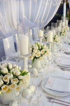 white tulip wedding centerpieces / http://www.himisspuff.com/white-tulip-wedding-ideas-for-spring-weddings/