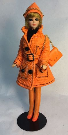 Vintage Topper Dawn Doll Head To Toe/A21A In Flatsy Orange Coat w/Accessories