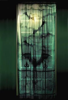 Spooky Gothic Window Curtain - Lace Decor Panel for sale by Halloween FX Props at MoreThanHorror.com