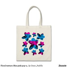 Floral texture: Blue pink pop-art flowers on white Budget Tote Bag.