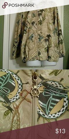 Windbreaker Tropical print, zip front has nautical zipper pull, elasticized armbands and jacket bottom Kenneth Too! Jackets & Coats