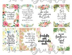 Printable tags Scripture art print Bible by TwoBrushesDesigns