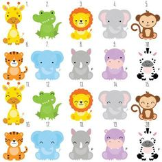 Safari Baby Animals Clipart / Jungle Animals Clipart / Zoo Animals Clipart - acrylbilder safari kinder - Home Safari Party, Jungle Party, Jungle Safari, Party Animals, Jungle Animals, Animal Party, Wild Animals, Baby Zoo, Baby Baby