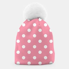 Vintage Beanie pink with white Dots, Live Heroes Design Shop, Unique Image, Beanies, Dots, Live, Stylish, Creative, Shopping, Vintage