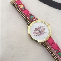 SHIPPING RESUMES 2/15 WRAP WATCH BRACELET Beautiful bracelet w watch. Lips on watch face. About 17 inches long w lobster clasp. New in bag. Retail item Accessories Watches