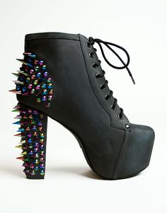Buy Jeffrey Campbell Lita Platform Boot in Black with Rainbow Spikes at Motel Rocks