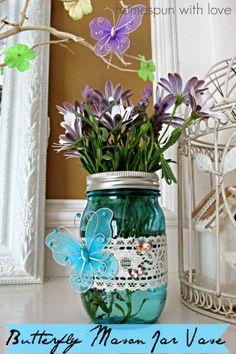 Homespun With Love: DIY:: Butterfly Mason Jar Vase Gift !