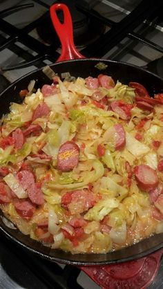This One-Pan Fried Cabbage and Sausage Meal is quick and easy -- dinner will be ready in just 30 minutes! Smoked Sausage Recipes, Pork Recipes, Cooking Recipes, Healthy Recipes, Fried Cabbage Recipes, Recipies, Polish Sausage Recipes, Cabbage Meals, Soul Food Recipes