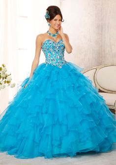 quinceanera dress from Vizcaya by Mori Lee Dress Style 88092 Embroidered and Beaded Bodice on a Ruffled Organza Skirt