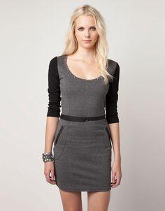 Bershka Croatia - BSK dress with imitation leather sleeves