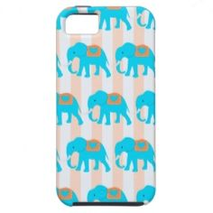 Cute Teal Turquoise Blue Elephants on Peach Stripe iPhone 5 Cover