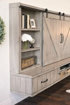 Tv Stand And Entertainment Center, Diy Entertainment Center, Farmhouse Tv Stand, Rustic Farmhouse, Rustic Wood, Rustic Barn, Farmhouse Buffet, Farmhouse Ideas, Wood Wood