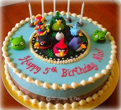 5 Year Old Boys Angry Birds In Space Cake Birthday Creative