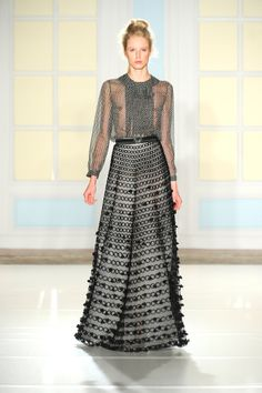 Temperley London Spring Summer 14, Bellis Blouse, Long Trellis Skirt,Perspex Alyssa Belt