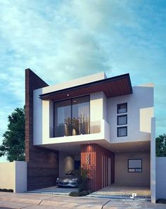 Bungalow House Design, House Front Design, Cool House Designs, Home Building Design, Building A House, Modern House Facades, Modern Villa Design, Small Modern Home, Contemporary House Plans