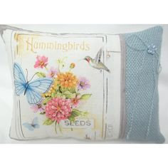 Hummingbird Butterfly Flower Garden Mini Pillow ($14) ❤ liked on Polyvore featuring home, home decor and throw pillows