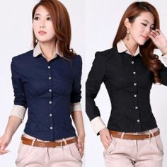 Cheap blouse collar, Buy Quality blouse bodysuits directly from China blouses and shirts Suppliers: Soft Cotton Blend Black & Navy Blue Women Solid Career Turn-Down Collar Button Shirt Spring Long Sleeve Blouse Dress Neck Designs, Blouse Designs, Simple Formal Dresses, Cute Fashion, Fashion Outfits, Spring Shirts, I Dress, Long Sleeve Shirts, Clothes For Women