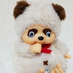 Monchhichi Friend Tanutanu Vintage Raccoon Plush Ivory Sekiguchi F/S Japan Baby Bunnies, Bunny, Red Pajamas, Plush Dolls, South America, Monkey, Retro Vintage, Ivory, Teddy Bear