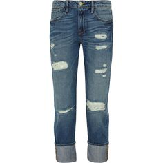 Frame Denim Le Grand Garcon distressed mid-rise boyfriend jeans ($72) ❤ liked on Polyvore featuring jeans, pants, bottoms, denim, blue, blue ripped jeans, rolled cuff jeans, mid rise boyfriend jeans, ripped boyfriend jeans and cuffed boyfriend jeans
