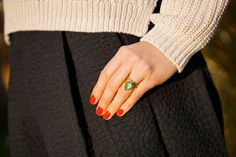 Red nail polish (Essie 'Really Red' and ring from the Danish jeweler Julie Sandlau