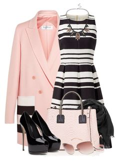 """""""Striped Dress & Pink Coat"""" by brendariley-1 ❤ liked on Polyvore featuring MaxMara, Kate Spade, maurices, Milly, bleu and Forever New"""